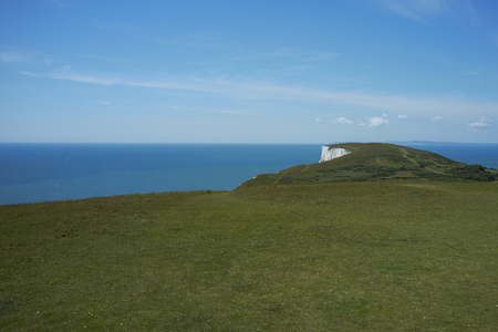 Rural landscape and cliffs on Tennyson Down on the Isle of Wight, off the south coast of the United Kingdom. Stock Photo