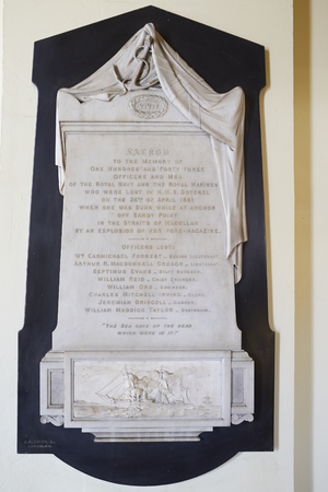 when: Greenwich, United Kingdom - July 07, 2017: Memorial in Greenwich Naval College, to the Officers and Ships Company of HMS DOTEREL that died when the ship exploded in Punta Arenas, Chile.