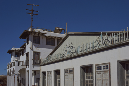 Chacabuco, Antofagasta Region, Chile - August 19, 2017: Theatre in the derelict nitrate mining town of Chacabuco in the Atacama Desert of northern Chile Editorial