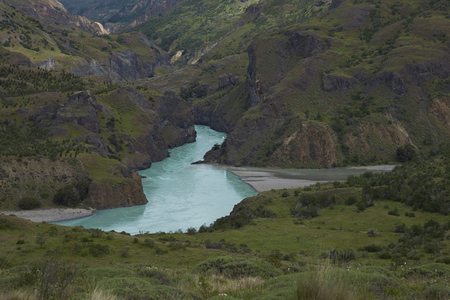 Confluence of the Rio Chacabuco with the glacial blue waters of the Rio Baker along the Carretera Austral in Patagonia, Chile Reklamní fotografie