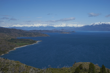 Scenic landscape around Lago General Carrera in northern Patagonia, Chile