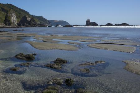 Remote beach at Pilolcura on the Pacific Coast of southern Chile near Valdivia. Stock Photo