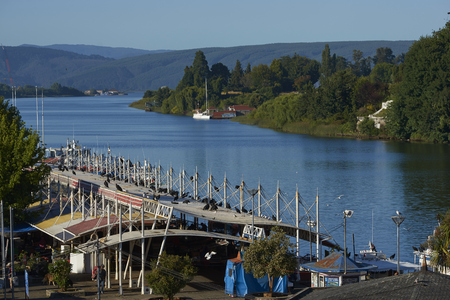 Valdivia, Los Lagos, Chile - January 29, 2018: Waterfront of Valdivia along the Calle-Calle River in the Lake District of southern Chile.