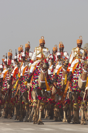 NEW DELHI, INDIA - JANUARY 23, 2008: Soldiers of the Indian Border Security Force riding their camels down the Raj Path in preparation for the annual Republic Day Parade