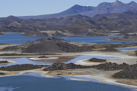 Lagunas de Cotacani in Lauca National Park high on the Altiplano of northern Chile.