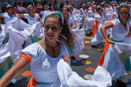 ARICA, CHILE - FEBRUARY 10, 2017: Group of dancers of Africa descent (Afrodescendiente) performing at the annual Carnaval Andino con la Fuerza del Sol in Arica, Chile. Editorial