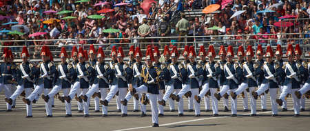 SANTIAGO, CHILE - SEPTEMBER 19, 2016: Members of the Chilean Army march past during the annual military parade as part of the Fiestas Patrias commemorations in Santiago, Chile.