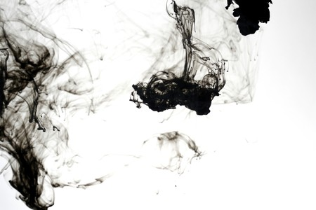 indian ink: Indian ink in water with a white back ground.