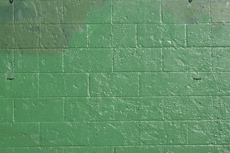 asbo: green brick wall that has been covered up with off shades of green to cover grafitti.