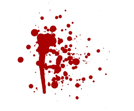 gore: blood splatter red horror bloody gore drip murder violence Stock Photo