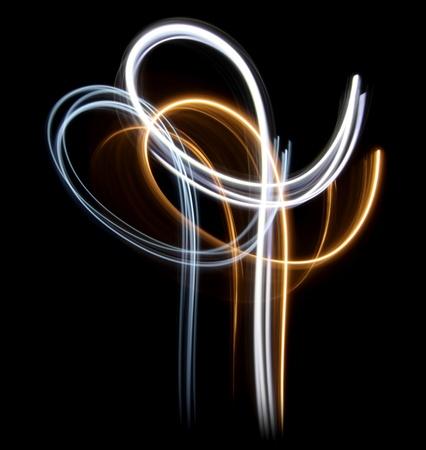 Linee di luce astratte su sfondo nero Archivio Fotografico - 9895801