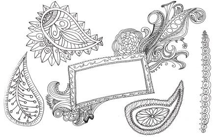 de hand getekende paisley ontwerpen