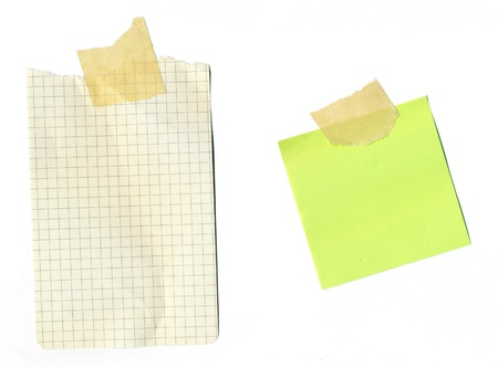 Post it notespaper - taped paper on white background. Great for websites! Stock Photo