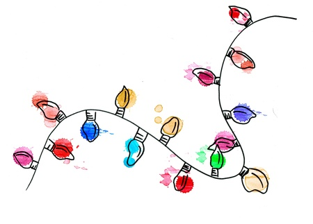 Hand drawn christmas lights. great for holiday cards or designs. Stock fotó