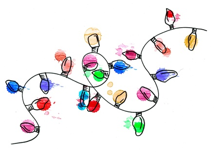 string of christmas lights: Hand drawn christmas lights. great for holiday cards or designs. Stock Photo