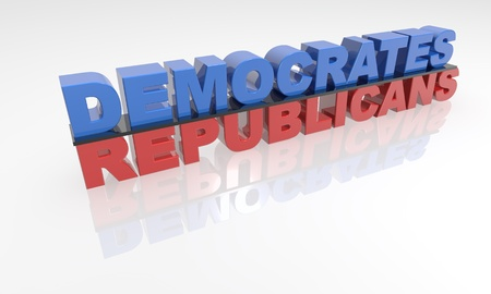 democrates: high quality three dimensional text. Political 3d text