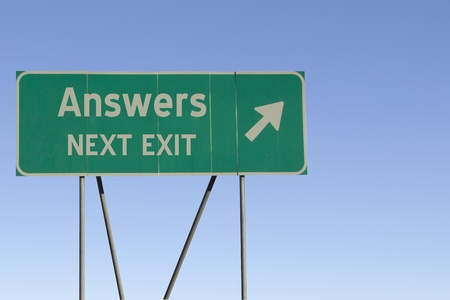 answers highway: Green road sign with a blue sky gradient background.