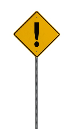 a yellow road sign with an exclamation mark on white background