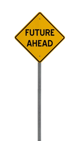 a yellow road sign with the words FUTURE AHEAD on white background