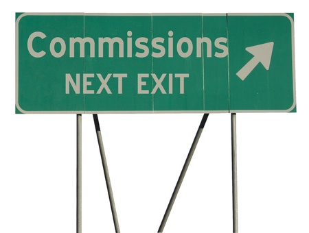 commissions: Isolated green road sign on a white background Stock Photo