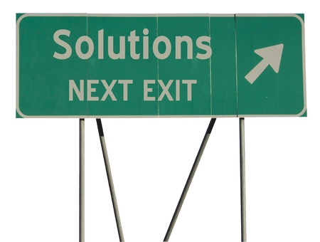solutions freeway: Isolated green road sign on a white background Stock Photo