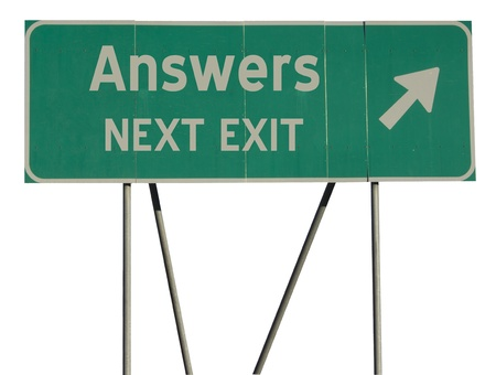 answers highway: Isolated green road sign on a white background Stock Photo