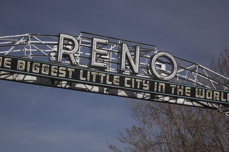 reno: The old Reno sign with a blue cloudy sky