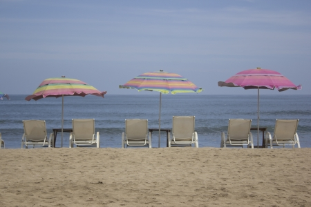 beach with chairs and umbrellas Stock Photo - 13849776
