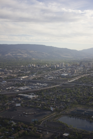an aerial of reno at dusk in Spring. photo