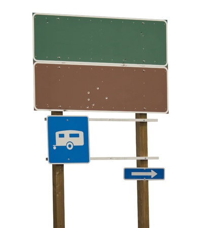 Blank green and brown sign with trailer blue  photo