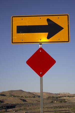 right arrow: a right arrow road hazard sign Stock Photo