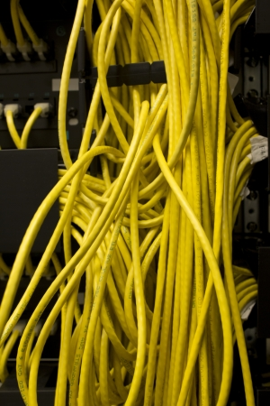 utp: Yellow network cables in a server room