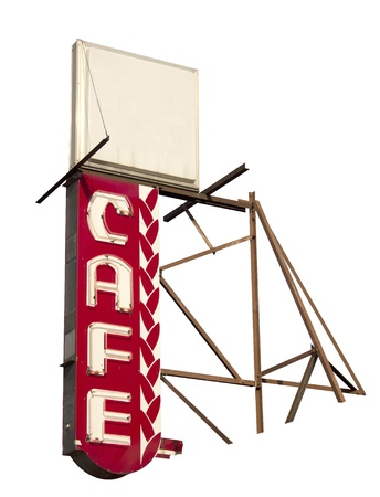 A vintage cafe sign that is neon and isolated on a white background.