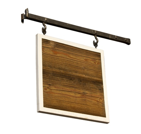 plywood: A wood board with a white frame hanging on rod iron