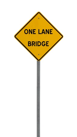 one lane roadsign: A yellow road warning sign isolated on white Stock Photo