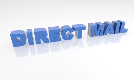 direct mail: 3d text with a white background and reflection
