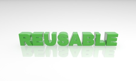 green reusable text on a white background