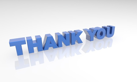 blue thank you 3d letters on a white background with a white reflection. Stock Photo - 16976394