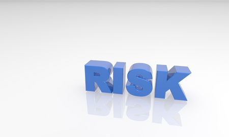 blue risk 3d text witha  white reflectio background Stock Photo - 16976393