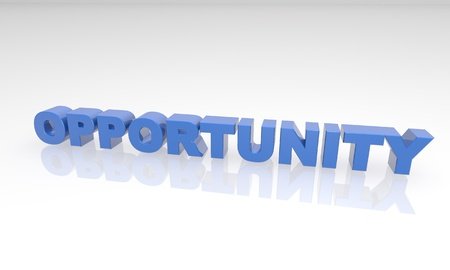 opportunity: 3D blue text that says opportunity on a white background with a reflection.