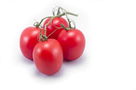 白い背景で隔離のつるとトマト