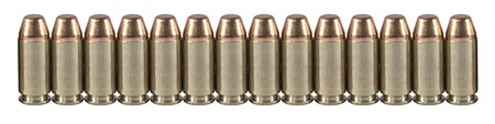9mm: High quality bullets on a white isolated background