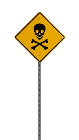 A yellow road warning sign isolated on white. Includes clipping path. 版權商用圖片 - 17924603