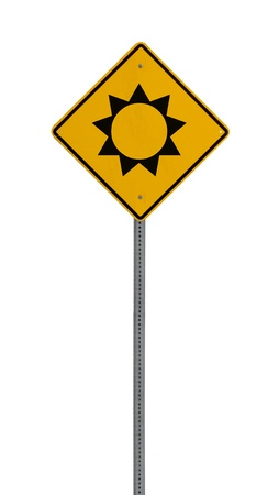 A yellow road warning sign isolated on white. Includes clipping path. 版權商用圖片 - 17924601