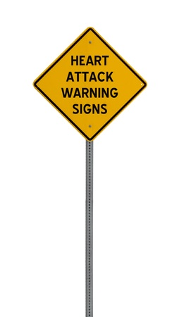 heartattack: A yellow road warning sign isolated on white. Includes clipping path. Stock Photo