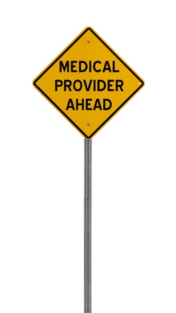care providers: A yellow road warning sign isolated on white. Includes clipping path. Stock Photo