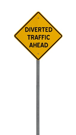 diverted: A yellow road warning sign isolated on white. Includes clipping path. Stock Photo