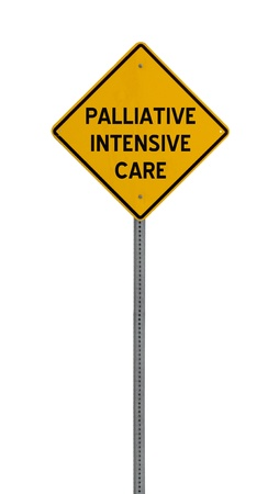 palliative: A yellow road warning sign isolated on white. Includes clipping path. Stock Photo