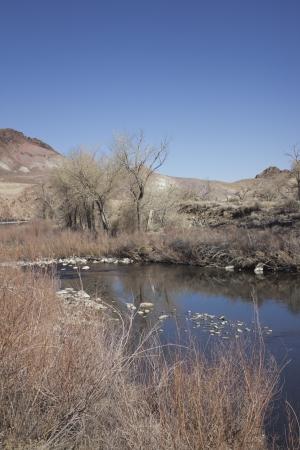 The Truckee river just past Reno towards Fernley in the winter 版權商用圖片 - 18144398