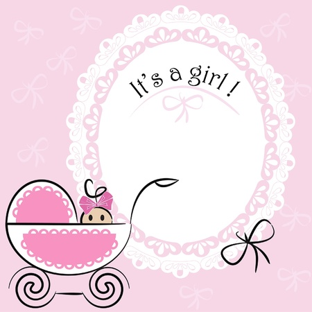 newborn baby girl: Baby card - Its a girl theme Illustration